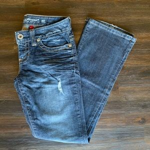 Guess Daredevil Boot Cut Distressed Jeans 28
